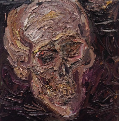 Roz Sommer skull paintings Oil on board