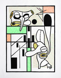 archive relief print with rubber stamping and watercolor