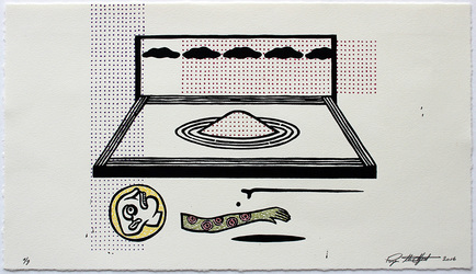 archive relief with watercolor