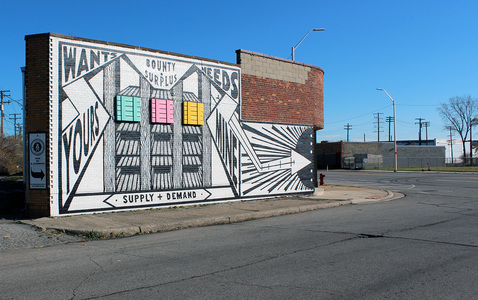 RYAN STANDFEST mural painted mural with wood crate constructions