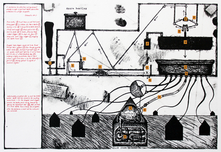archive lithograph with collage and handwriting