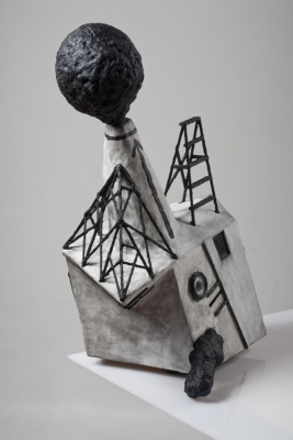 sculpture mixed media construction with looped sound recording