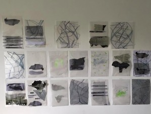 Sally Bowring Works on Paper acetate sheets, tracing paper, felt tip pens, found paper