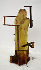 Samantha Russell Sculptures Hand Dyed silk, Industrial Resin, Wood