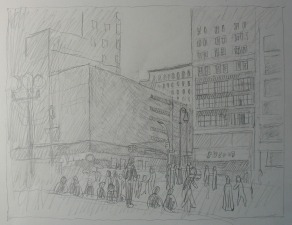 Sam Thurston 14th Street painting and studies pencil