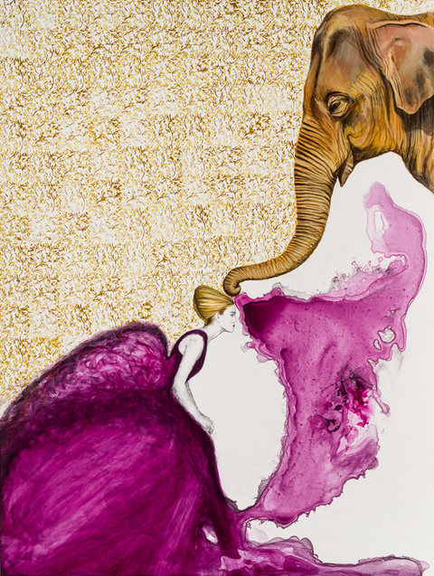 Sandra Mack-Valencia ELEPHANT SERIES Acrylic, ink and transfer on wood panel