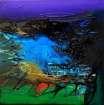 Sandra Vucicevic SMALL WORKS Acrylic, pouring medium and glass on canvas