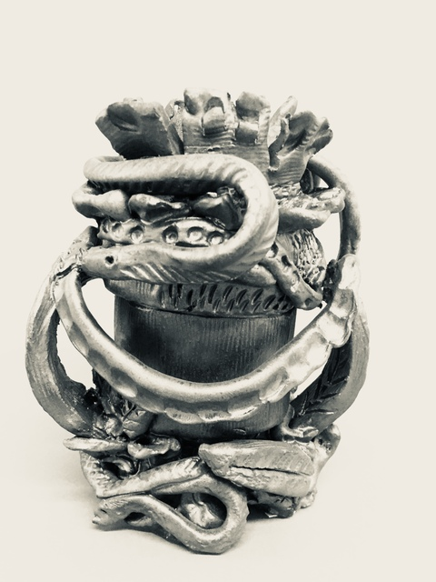 Bronze + Clay  Snake Pot I