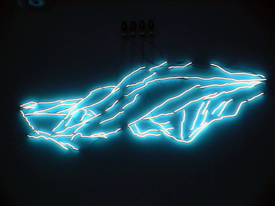 Sarah Iremonger Upside-down Mountains 2003 Neon tubing