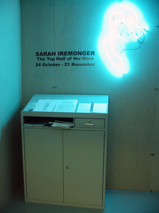Sarah Iremonger Top Half of the Hero 2002 Office furniture, neon tubing, information and response zone
