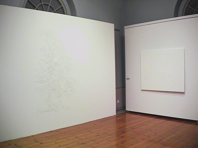 Sarah Iremonger Lumpy Art History 2001-03 Wall drawing, household enamel paint on canvas