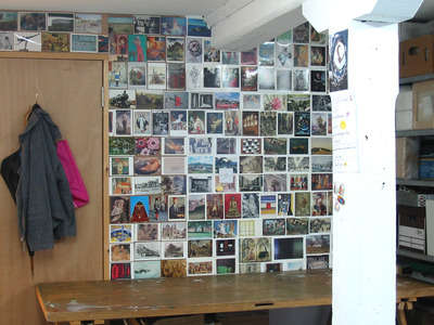 Sarah Iremonger A Secret Archeology 2005 Installation of postcards, notes, paintings, drawings, found photographs, prints, display case and notice board