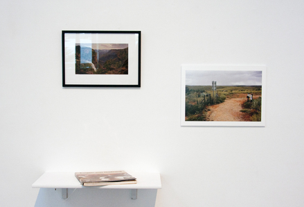 Sarah Iremonger The Travels of Eugen von Guérard 2011-12 Framed photographic image of a painting, catalogue, shelf, photograph printed on hahnemuhle photographic paper