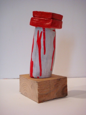 Sarah McDougald Kohn 2008 Air-dry clay, paint & wood