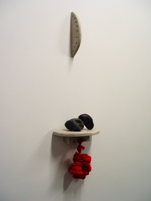 Sarah McDougald Kohn 2008 Wood, clay, acrylic medium, ink, cotton jersey & paint