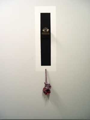 Sarah McDougald Kohn 2008 Paint, ink, wood, clay, nails & cotton jersey