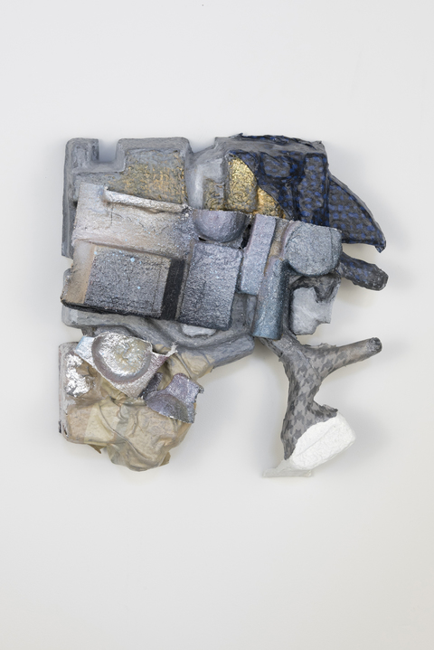 SARA HUBBS The Everyday Abstract Acrylic and spray paint, gold and platinum leaf, fabric, fabric glue, plaster cloth, archival glue on cardboard container