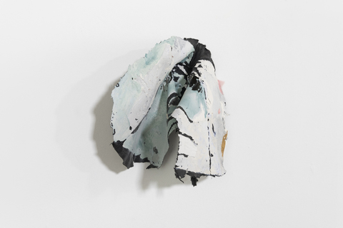 SARA HUBBS The Everyday Abstract fabric, fabric glue, ink on discarded jeans
