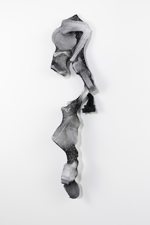SARA HUBBS The Everyday Abstract plaster cloth casts of toy and product packaging and rhinestone fishnet tights