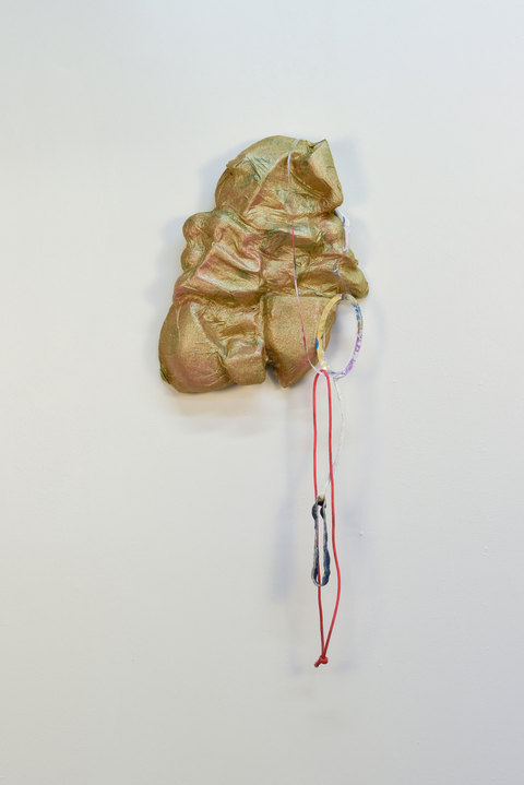 SARA HUBBS Unfurled aquaresin, plaster wrap, tissue paper, spray paint, plastic toy packaging, clothing seams and gesso