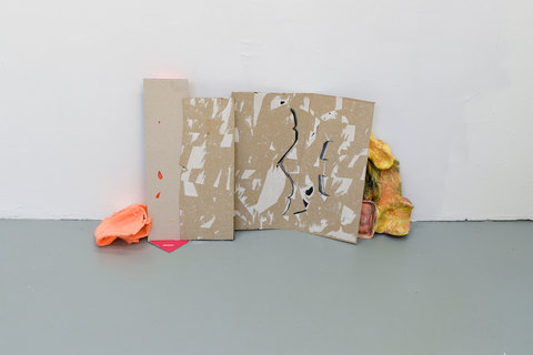 SARA HUBBS Unfurled cardboard toy packaging, plaster wrap, tissue paper, acrylic paint, spray paint, and latex