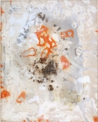 SARA HUBBS The Chocolate Factory industrial wax, spray paint, pigment on panel