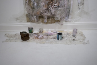 SARA HUBBS As Is  (MFA Exhibition) paint, other paintings, tape, glitter, cans, cups