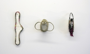 SARA HUBBS Just Sayin' discarded shoes, joint compound, adhesive, & thread