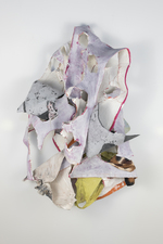SARA HUBBS Sculpture Joint compound, pastel, clothing, fabric glue, on beach towel