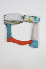 SARA HUBBS Sculpture Fabric and fabric glue on plastic toy packaging