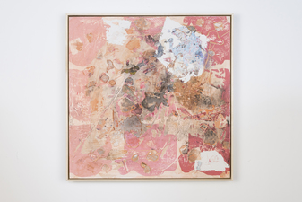 SARA HUBBS Painting Acrylic, fabric, archival glue and joint compound on panel