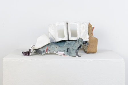 SARA HUBBS Small Works plaster cloth, acrylic paint, archival glue and shoe piece