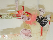SARA HUBBS Untitled Clear tape, acrylic paint, paper on clear plexi-glass