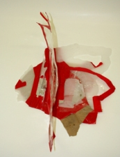 SARA HUBBS Untitled Industrial wax, clear, red, and foil tape
