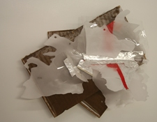 SARA HUBBS Untitled Industrial wax, clear, red, and foil tape on cardboard