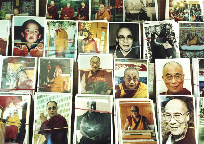 <b>The Searchers (Part I)</b>  His Holiness the Dalai Lama postcard stand (McCleod Ganj, India)