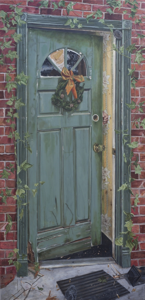 Door Canvas Amp Flickering Light Canvas Christmas Door