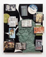 Scott Marvel Cassidy Sculpture Canvas, records, oil paint, wood, canvas, epoxy.