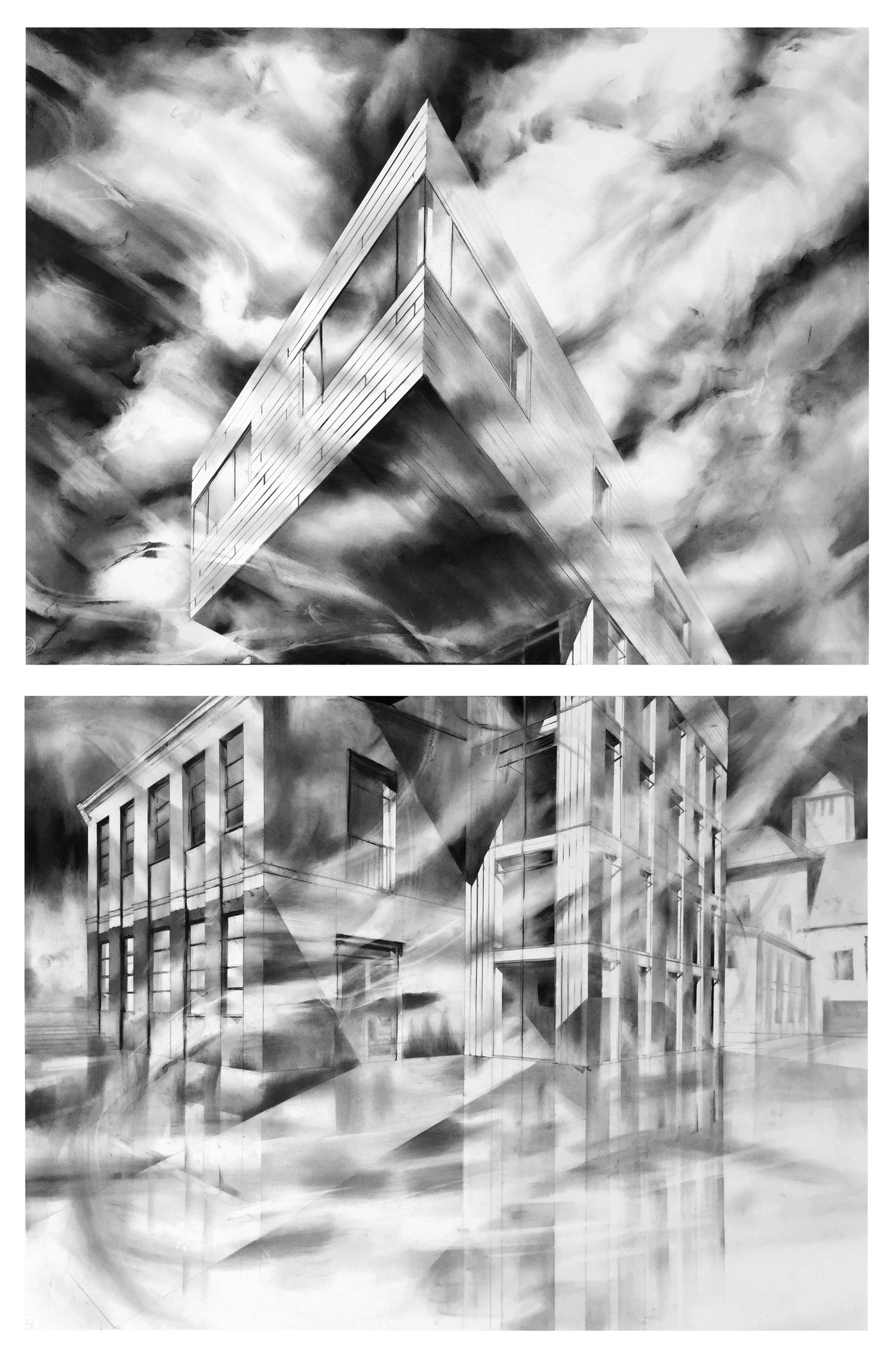 recent drawings and openings drawing for 2017 exhibit at the Architektur Galerie Berlin, Germany