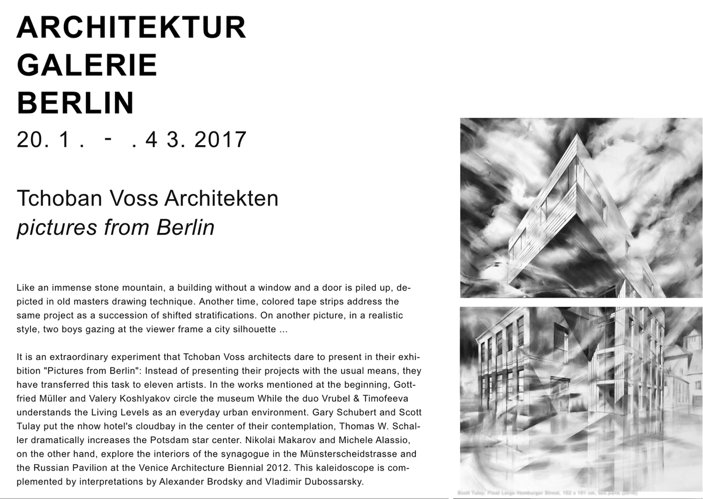 recent drawings and openings Architektur Galerie Berlin opening January 2017