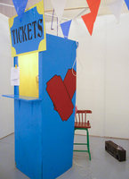 Sean Naftel Attenborough Naftel Found wood, paint, boombox, music, pennants, tickets