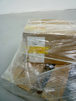 Sean Naftel Attenborough Naftel Carboard box, shipping labels, DHL tape, shrink wrap, pallet