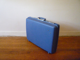 Sean Naftel Attenborough Naftel Suitcase, wood, aluminum, sketchpads, iron-on images
