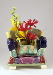 Shana Salaff Work 2011-2012 Couch: Thrown, altered and assembled porcelain. Vase: Thrown, altered and assembled stoneware