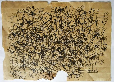 Shane Crabtree Whimsy  ink on paper bag