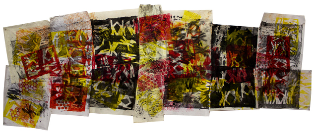 Shane Crabtree Abstractions gelatin print on rice paper with stitching