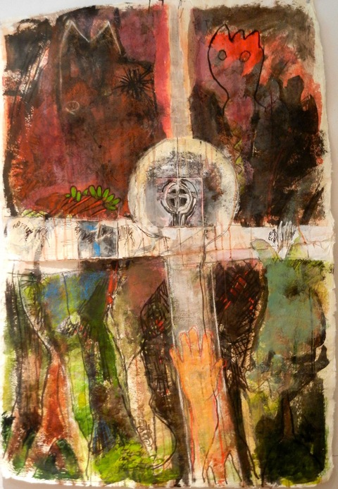Shane Crabtree Vermont Workshop 2013 acrylic, collage, charcoal and pencil on hand-made paper