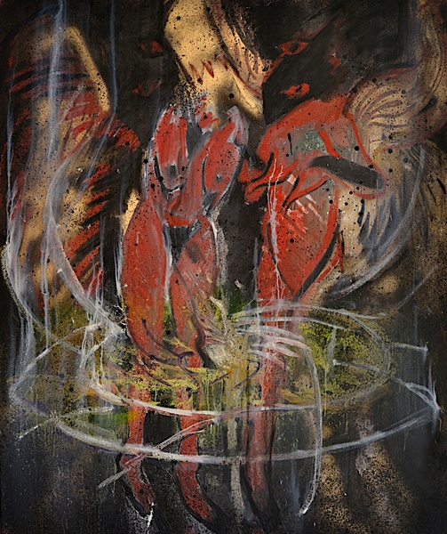 Shanna Waddell He, Satan oil and spray paint on canvas