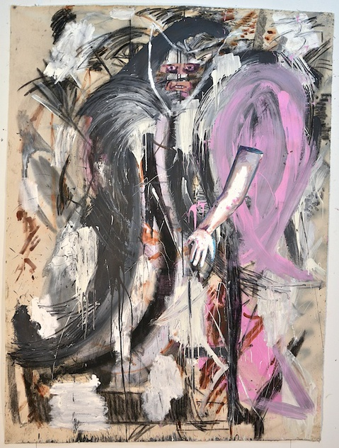 Shanna Waddell He, Satan house paint, oil, charcoal, collage on canvas