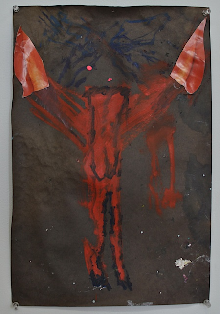 Shanna Waddell He, Satan oil and collage on paper